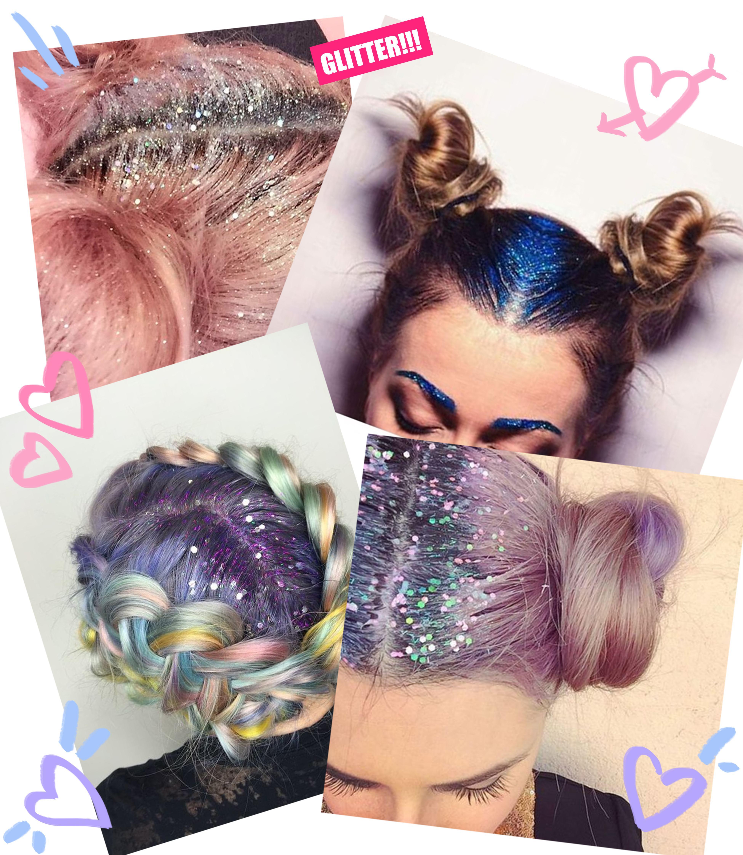 glitter no cabelo